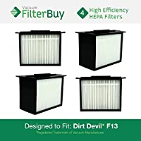 4 - Dirt Devil F-13 (F13) HEPA Replacement Filters, Part # 3LK0540001. Designed by FilterBuy to fit Dirt Devil Reaction Dual Cyclonic, Reaction All-Surface, Reaction Fresh and Action Vacuum Cleaners