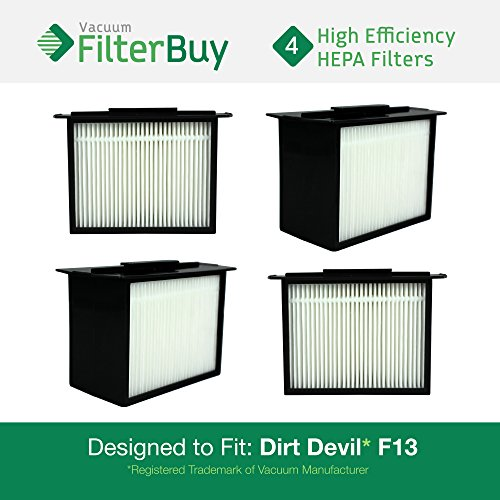 FilterBuy 4 - Dirt Devil F-13 (F13) HEPA Replacement Filters, Part # 3LK0540001. Designed to fit Dirt Devil Reaction Dual Cyclonic, Reaction All-Surface, Reaction Fresh and Action Vacuum Cleaners