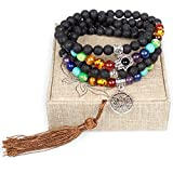 Mala Beads - Tibetan Mala Prayer Japa Lava Beads Necklace - 108 Lava Rock Stone Jewelry for Mantra and Meditation - Buddhist Prayer Beaded Bracelet Necklace - Chakra Stones(Lava Rock,Lotus Flower)