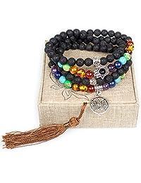 8mm Lava Rock 108 Buddhist Prayer Beads 7 Chakra Stones Tibetan Mala Beads Lotus Flower Bracelet Necklace
