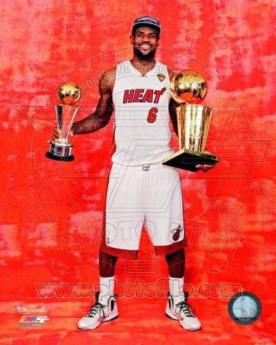 (LeBron James Miami Heat 2012 NBA Championship Trophy 8x10 Photo)
