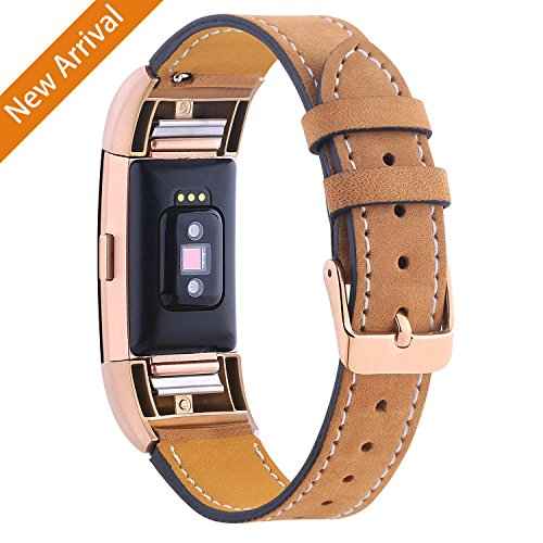 Hotodeal For Fitbit Charge 2 Replacement Bands, Classic Genuine Leather Wristband With Metal Connectors, Fitness Strap for Charge 2, Rose Gold & Light (Ventilated Metal)