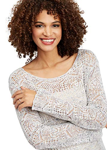 maurices Women's Spacedye Pointelle Stitch Pullover Sweater Large Soft White Combo from maurices