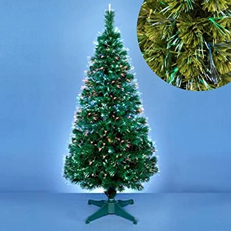 green fibre optic christmas tree with led light source 80cm