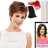 Bundle - 5 items: (#5154) Kris by Jon Renau, Chiffon Scarf, Jon Renau Synthetic Shampoo, Jon Renau Booklet, Black Wig Cap Liner, Color Chosen: 101F48T
