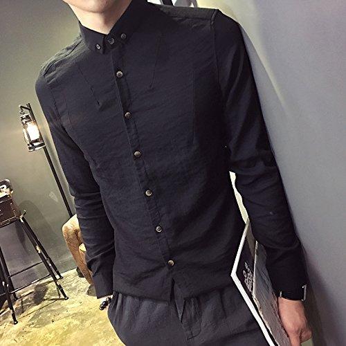 Shirt,2Xl,Black 001 MenS Casual Cotton Shirt KunZhang Pure Slim Long Sleeved Shirt