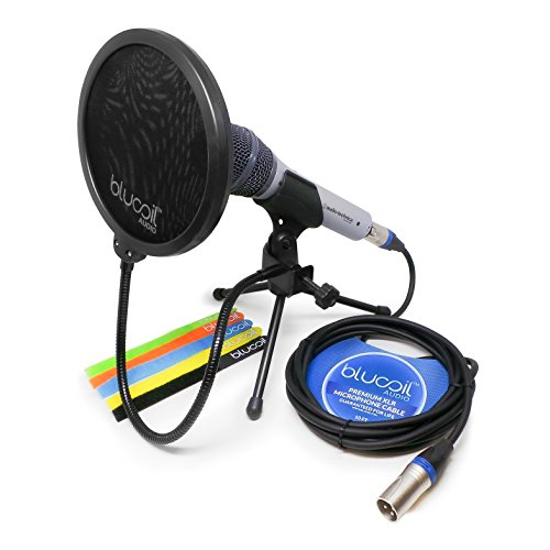 Audio-Technica ATR2100-USB Handheld Cardioid Dynamic USB and XLR Microphone -INCLUDES- Blucoil Pop Filter AND 10 foot XLR Cable WITH 5 Pack Cable (Cable Cardioid Dynamic Microphones)