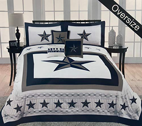 Linen Mart Western Cowboy Navy Blue Dallas Star Comforter Set - 6Pc Set (Queen)