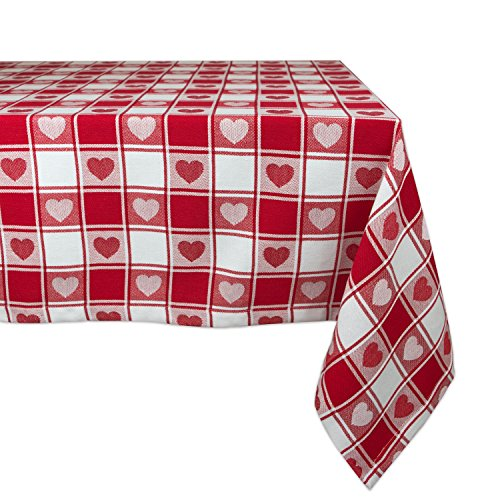 DII CAMZ36336 100% Cotton Tablecloth, Machine Washable-Beautiful Gift for Valentine's, Mother's Day, Housewarming, 60x84, Checkered Heart -