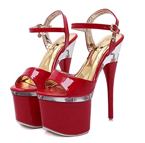 Plate Peep Talon Aisun Aiguille Sexy Haut Femme forme Rouge Sandales Toe pU0wwqXgxF