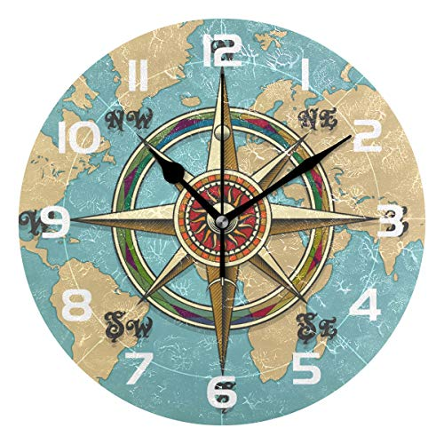 TropicalLife World Map Compass Decorative Wall Clock Acrylic Round Clocks Non Ticking Art Decor Bedroom Living Room Kitchen Bathroom Office School