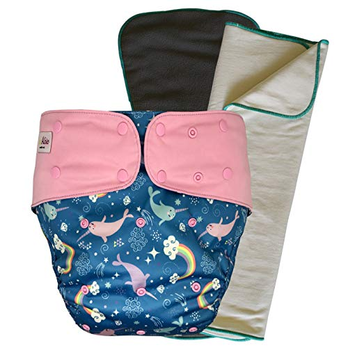 Cloth Diaper Cover Set - Reusable Special Needs Incontinence Briefs with Bamboo Inserts for Big Kids, Teens and Adults (Narwhal, Youth)