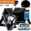 FinaTider Full Face Snorkel Mask Foldable Snorkeling Mask with Detachable Camera Mount 180° Panoramic Snorkel Set Dry Top Anti-Fog Anti-Leak for Adults & Teenagers (6 Piece Set)