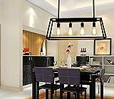 Aiwen Wrought Iron Chandelier Rectangular Trapezoidal Acrylic Chandelier Pendant Light Ceiling Lamp Black 4 Lights