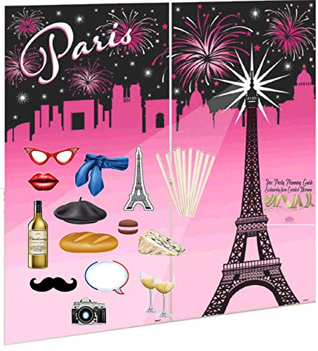 Curated Nirvana Day in Paris Background and Photo Prop Bundle with Dowels | 1 Eiffel Tower Background, 14 Double-Sided Props | Great for French Themed Parties for Birthday, Wedding, Bridal -