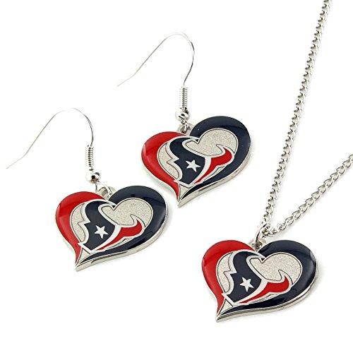 NFL Houston Texans Swirl Heart Earrings & Pendant Set