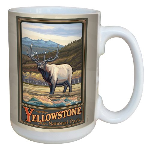(Tree-Free Greetings lm43221 Vintage Yellowstone National Park Elk by Paul A. Lanquist Ceramic Mug with Full-Sized Handle, 15-Ounce, Multicolored)