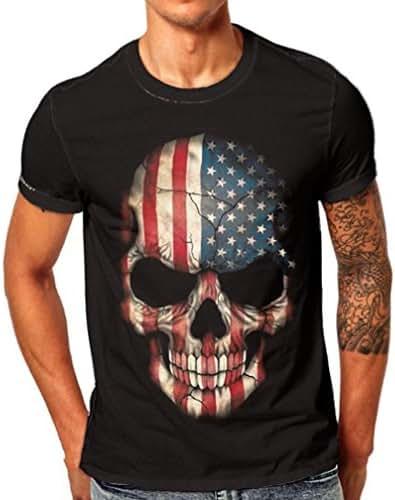 Realdo Men's Terror American Flag Skull Print T-Shirt Short Sleeve Tops Tee
