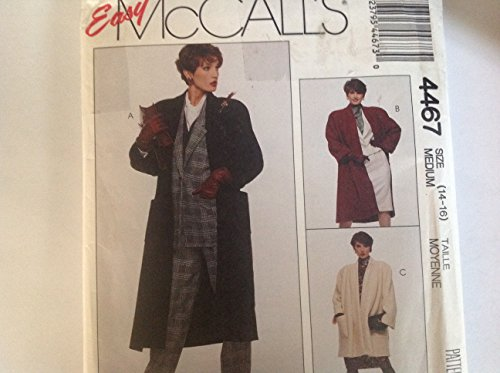 Mccalls 4467 Sewing Pattern Misses Sizes 14-16 Oversize Gathered Shoulder Lined Raglan Sleeve Coat in Three Lengths with Large Patch Pockets (Mccall Winter Coat Patterns)