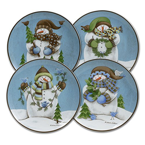 Pfaltzgraff Evergreen Ernie Salad Plates, Set of 4 (Set Dinnerware Snowman)