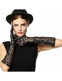 WARMEN Sexy Uv Block Women Long Genuine Kid Leather Lace Back Unlined Gloves