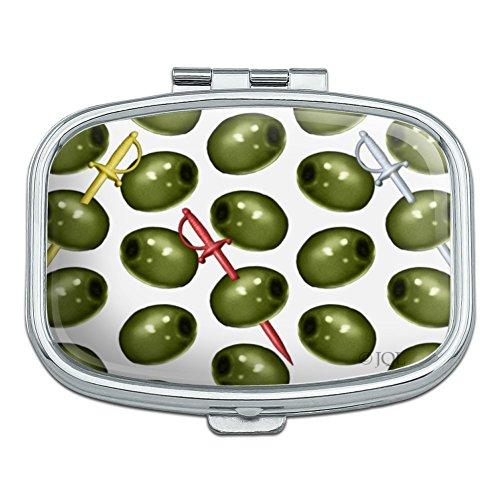 Martini Green Olive Pattern Rectangle Pill Case Trinket Gift Box