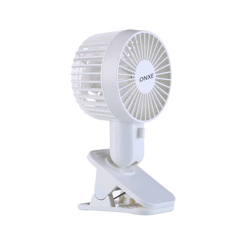 ONXE USB Small Clip Fan, Super Silent Clip On Fans for Office Table Home Room Desk Bed,2-Speed,Dual Motor,12 Blades Gentle Wind,Multi-Angle Rotation (White)