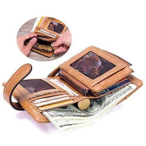 monnaie Hommes Marron Cuir Vintage La Multi Titulaire Détachable D En Trifold Zip Portefeuille Pour De Bifold Porte Carte Sumferkyh Crédit Crédit qRYI1axn