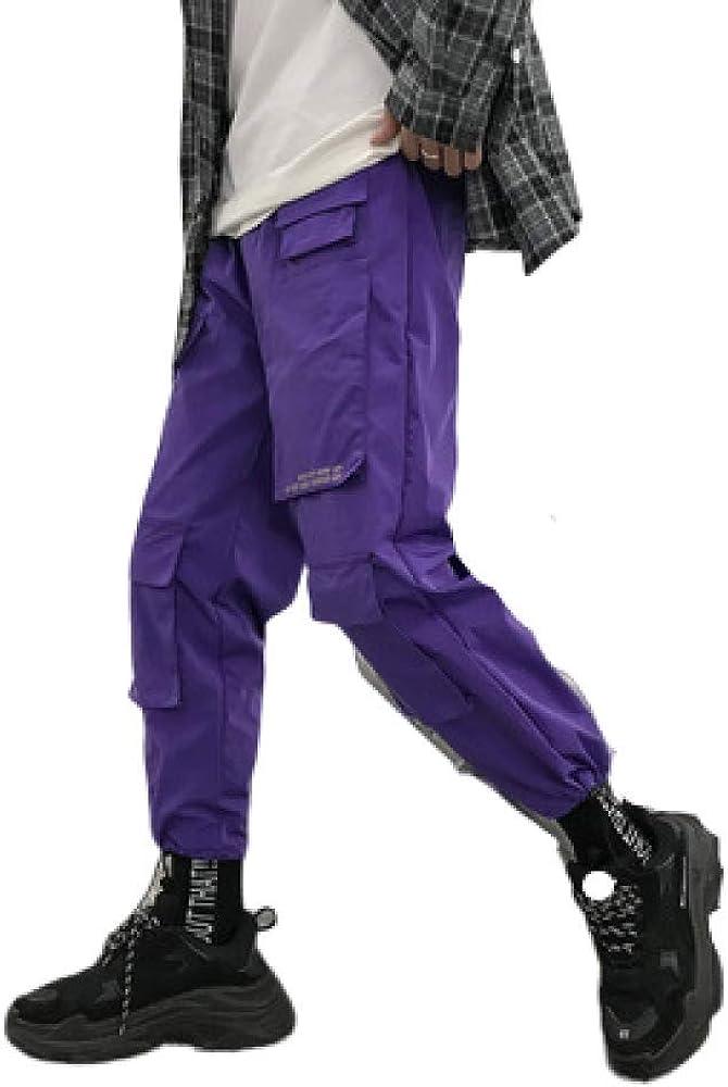 nobranded Pantalones de Hombre Ropa Estilo Deportivo de Hong Kong Cordón Casual Cintura elástica Slim Fit Pantalones Ajustables de Apertura de Tobillo