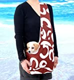 New Stylish Brown and White Art Pattern Outward Pet Sling Style Dog Cat Carrier -Small