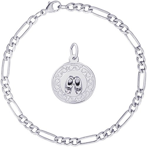- Rembrandt Charms Sterling Silver Baby Booties Disc Charm on a Classic Figaro Bracelet, 7