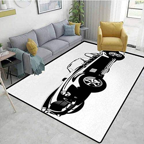 Cars Modern Area Rug American Authentic Aged Vehicle with Stylized Wealth Properties Engine Icon Print Anti-Static W71 x L110 Black White