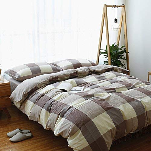 Comfortable Bed Cover Washed Cotton Four-Piece Set Cotton Solid Plaid Striped Bedding Cotton Quilt Sheets Bed 笠, Bed Type, Coffee Gray, 1.8M (6 Feet) Bed