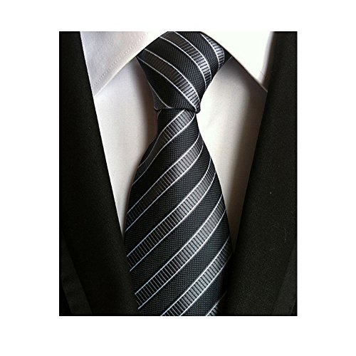 Men's Classic Black Stripe Tie Jacquard Woven Silk Necktie + Gift (New Mens Black Stripe Suit)