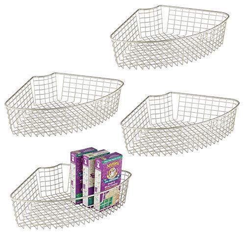 mDesign Farmhouse Metal Kitchen Cabinet Lazy Susan Storage Organizer Basket with Front Handle - Medium Pie-Shaped 1/4 Wedge, 4.2
