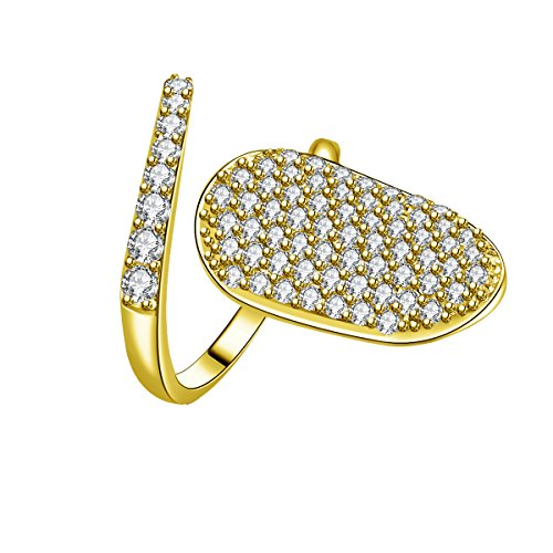 IcedJewels 1.62 cttw Round CZ 14K Yellow Gold Nail Finger Tips Ring, 7 (14k Nail Gold Yellow)
