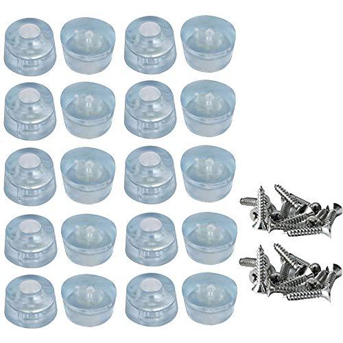 Muebles Almohadillas de Proteccion para Pies, 20 piezas Goma Antideslizante Fundas para Pies con Tornillos, Proteccion de Paragolpes Transparente para Escritorios, Sofas, Sillas (17 x 20 mm)