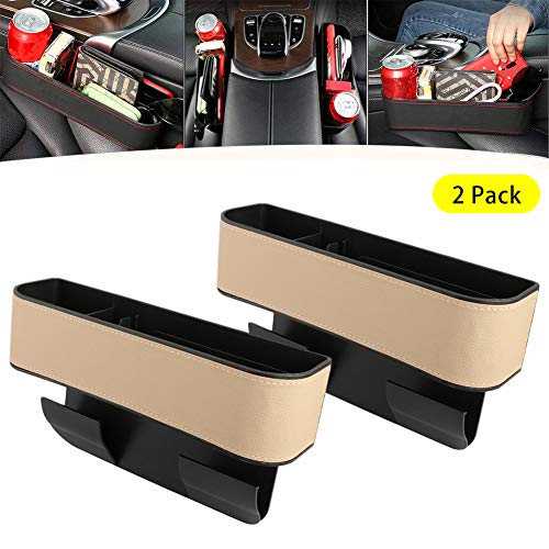 Kriszon 2PCS Car Seat Gap Storage Box Seat Gap Filler with Cup Holder,Premium PU Leather Console Side Filler Organizer Pocket for Car Accessories Interior, Holding Phone, Wallet, Cup Holder Beige