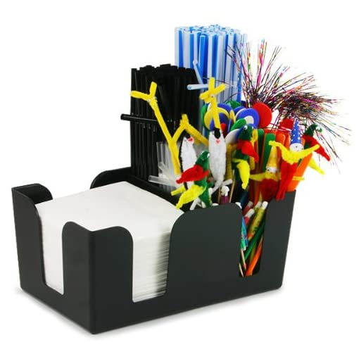 BarDrinkstuff-Bar-caddy-classic-plstico-bar-caddy-negro-aide-almacenaje-organizador-barra-condimento-caddy-sostenedor-de-la-servilleta-sostenedor-de-la-paja-de-la-barra-de-la-barra-de-la-barra