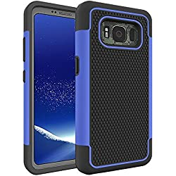 Galaxy S8 Active Case, Asstar Durable Fit Dual Layer Soft Silicon Rugged Anti-Scratch Scratch Resistant Shock Absorption Defender Protective Cover for Samsung Galaxy S8 Active (Black+Blue)
