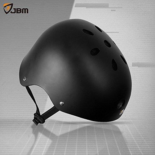 JBM Helmet for Multi-Sports Bike Cycling, Skateboarding, Scooter, BMX Biking, Two Wheel Electric Board and Other Sports [Impact Resistance] (Black, Adult) by JBM international (Image #8)