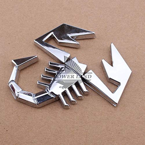 (Tamiko - 3D Car Abarth AR Metal Adhesive Badge Emblem Logo Decal Stickers Scorpion Car Truck Auto Decor For Fiat 500/125/125/124 Punto - (Color Name: Silver))