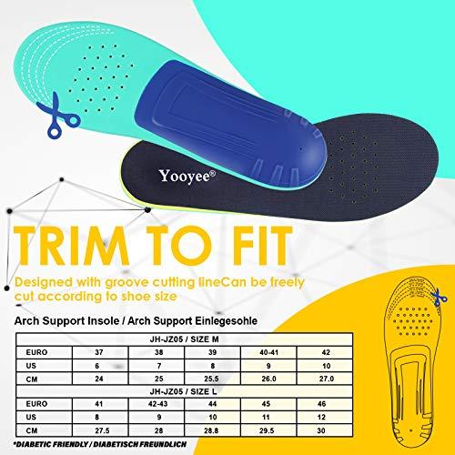 Yooyee Orthopädische Comfort Weich Einlegesohle Dämpfung Schuheinlagen für Plattfüße (L (EU41-46))
