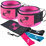 PeoBeo Fitness Ankle Cuff for Cable Machine | Cable Ankle Straps - Pair Pink with Booty Resistance...
