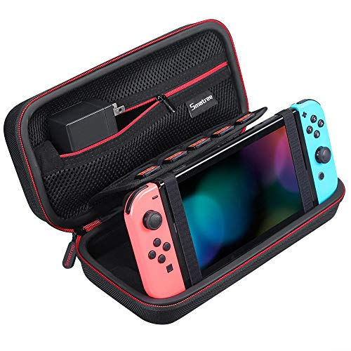 Smatree Carrying Case Compatible with Nintendo Switch - Protective Portable Hard Shell Travel Case for Nintendo Switch Console & Accessories with Holder Design