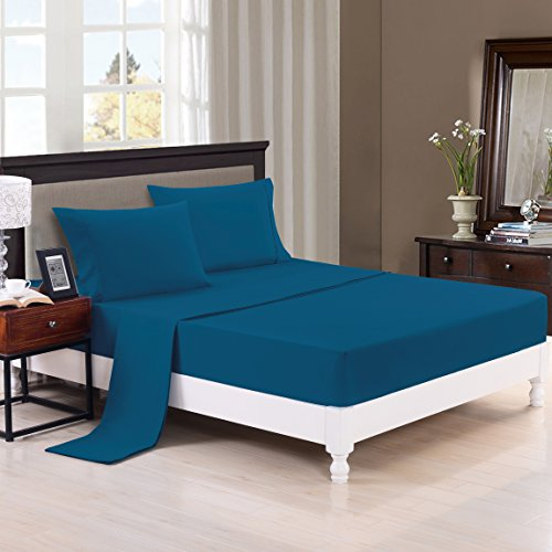 Bednlinens Solid Color Bed Sheets Set – 2600 Supreme Collection – Plain 288F Double Brushed Microfiber - Wrinkle Free, Fade Resistant, Ultra Soft, 4pieces Quality Bedding Set (Full, Turquoise)