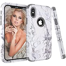 iPhone X Case, iPhone 10 Case, NOKEA [Marble Pattern] Three Layer Hybrid Heavy Duty Shockproof Full-Body Protective Bumper Cover Soft Silicone Combo Hard PC Case for iPhone X (Grey)