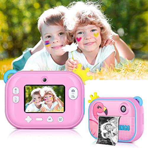 Instant Print Camera for Kids,Zero Ink Kids Camera with Print Paper,Selfie Video Digital Camera with HD 1080P 2.4 Inch…