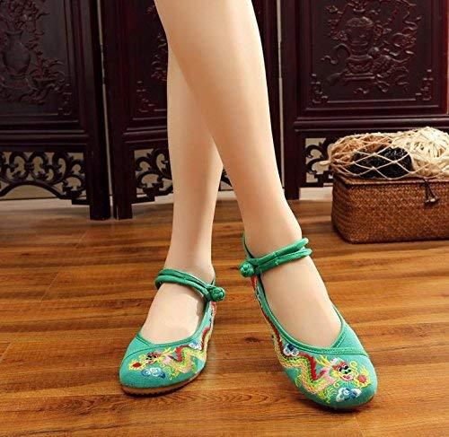 Fuxitoggo Bestickte Schuhe Sehnensohle Ethno-Stil weibliche Mode Stoffschuhe Mode weibliche bequem lässig innerhalb der Zunahme grün 43 (Farbe   - Größe   -) 9afc2e