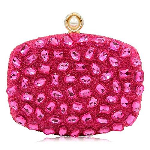 de à main de clubs pour sacs partie à pour Pink d'embrayage sac Hot femmes strass Sacs les main sac main à mariage les Shimmer soirée de BqE8d